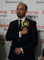 Successful SNP candidate Ben McPherson celebrates after being elected MSP for Edinburgh Northern & Leith.<br /> © Dave Johnston/ EEm