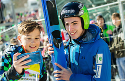 Timi Zajc (SLO) with fans during the Trial Round of the Ski Flying Hill Individual Competition at Day 1 of FIS Ski Jumping World Cup Final 2019, on March 21, 2019 in Planica, Slovenia. Photo by Vid Ponikvar / Sportida