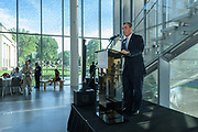 Repubilc Bank Vice-President Steve Deweese speaks at the 10-year anniversary celebration of Republic Bank's Private Banking and Business Banking divisions Wednesday, May 17, 2017, at the Speed Museum in Louisville, Ky. (Photo by Brian Bohannon)