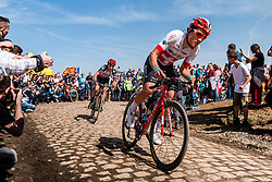 Silvan DILLIER from Switzerland of AG2R La Mondiale at the 4 star cobblestone sector 26 from Fontaine-au-Tertre to Quievy during the 2018 Paris-Roubaix race, France, 8 April 2018, Photo by Pim Nijland / PelotonPhotos.com   All photos usage must carry mandatory copyright credit (Peloton Photos   Pim Nijland)