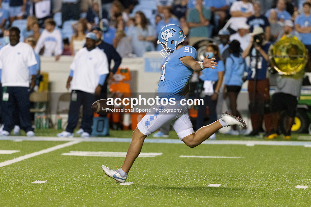 CHAPEL HILL, NC - SEPTEMBER 11: Ben Kiernan #91 of the North Carolina Tar Heels plays during a game against the Georgia State Panthers on September 11, 2021 at Kenan Stadium in Chapel Hill, North Carolina. North Carolina won 59-17. (Photo by Peyton Williams/Getty Images) *** Local Caption *** Ben Kiernan
