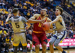Mar 6, 2019; Morgantown, WV, USA; Iowa State Cyclones guard Talen Horton-Tucker (11) drives down the lane during the first half against the West Virginia Mountaineers at WVU Coliseum. Mandatory Credit: Ben Queen-USA TODAY Sports