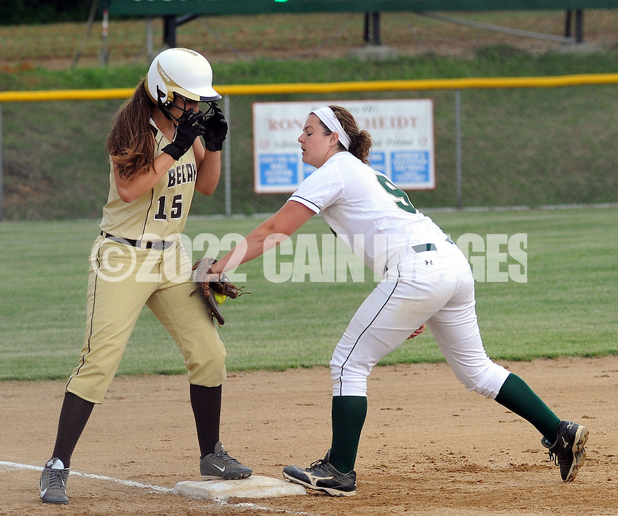 LYONS, PA - JUNE 09: Bethlehem's Brooke Rau (15) stands safely on third base as Lansdale Catholic's Alyssa Messina (9) attempts to tag her during the PIAA Class AAA softball semifinal June 9, 2014 Lyons, Pennsylvania. Bethlehem won 4-1. (Photo by William Thomas Cain/Cain Images)