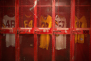 Grambling State University football head coach Eddie Robinson former locker (center) is preserved in the Eddie G. Robinson Museum in Grambling, Louisiana on October 23, 2013.  (Cooper Neill for The New York Times)