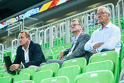 Metod Ropret president of Slovenian volleyball association, Aleksandar Boricic CEV president and Adi Urnaut during friendly volleyball match between Slovenia and Serbia in Arena Stozice on 2nd of September, 2019, Ljubljana, Slovenia. Photo by Grega Valancic / Sportida