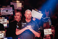COLOUR CORRECTED Raymond van Barneveld with his game face on, about to walk-on in his penultimate World Championship after announcing his retirement after next year's 2019/2020 Championship during the World Championship Darts 2018 at Alexandra Palace, London, United Kingdom on 17 December 2018.