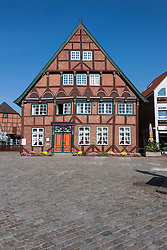 Facade of old town house, Lutjenburg, Schleswig-Holstein, Germany