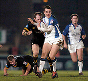 2004/05 Zurich Premiership, London Wasps vs Bath. Causeway Stadium, High Wycombe, ENGLAND:<br />Olly Barkley, breaking through the mid field<br /><br />Photo  Peter Spurrier. <br />email images@intersport-images