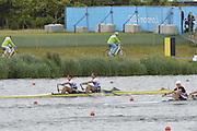 Eton Dorney, Windsor, Great Britain,..2012 London Olympic Regatta, Dorney Lake. Eton Rowing Centre, Berkshire[ Rowing]...Description;  Heat, Men's double Sculls: .Luka SPIK (b) , Iztok COP (s).LTU.M2X Rolandas MASCINSKAS (b) , Saulius .GBR M2X Bill LUCAS (b) , Sam TOWNSEND (s).NOR.M2X Nils Jakob HOFF (b) , Kjetil BORCH (s).FRA.M2X Julien BAHAIN (b) , Cedric BERREST (s).CAN M2X Michael BRAITHWAITE (b) , Kevin KOWALYK (s)..Dorney Lake. 12:30:17  Tuesday  31/07/2012.  [Mandatory Credit: Peter Spurrier/Intersport Images].Dorney Lake, Eton, Great Britain...Venue, Rowing, 2012 London Olympic Regatta...