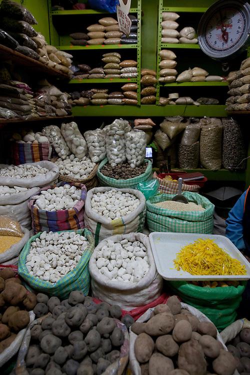 food stall at a market in Puno, Titicaca Lake, Peru.