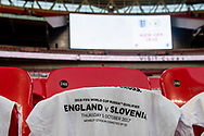 general shot of the stadium and souvenir t-shirts during the FIFA World Cup Qualifier match between England and Slovenia at Wembley Stadium, London, England on 5 October 2017. Photo by Sebastian Frej.