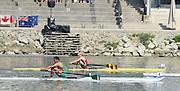 Linz. AUSTRIA.    Men's Single Sculls,  Semi Final 1.  right, second BEL BM1X, Hannes OBRENO and Third, MEX BM1X, Juan Carlos CABRERA. FISA U23 World Championships, Linz-Ottensheim Rowing Course.  10:45:01  Saturday  27/07/2013. [Mandatory Credit, Peter Spurrier/ Intersport Images] ,