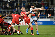 Sale Sharks second-row Bryn Evans charges down a clearance kick from Saracens scrum-half Tom Whiteley during a Premiership Rugby Cup Semi Final  won by Sale 28-7, Friday, Feb. 7, 2020, in Eccles, United Kingdom. (Steve Flynn/Image of Sport)