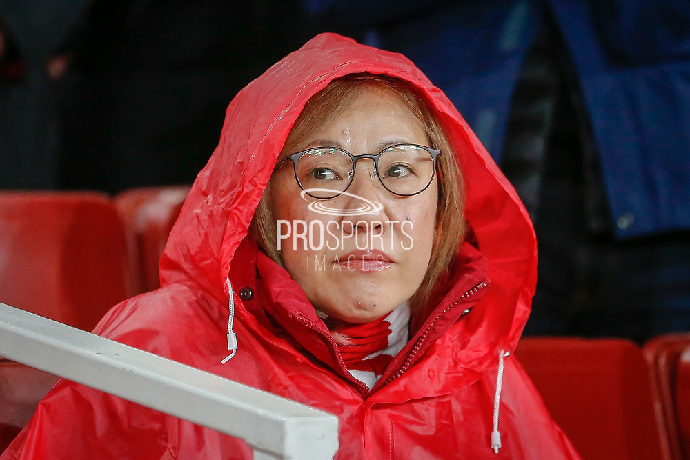 Arsenal football fan, football supporter during the Europa League match between Arsenal and Eintracht Frankfurt at the Emirates Stadium, London, England on 28 November 2019.
