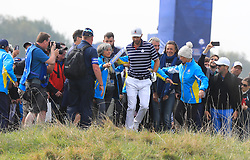 Team USA's Dustin Johnson in the rough during the Foursomes match on day one of the Ryder Cup at Le Golf National, Saint-Quentin-en-Yvelines, Paris.