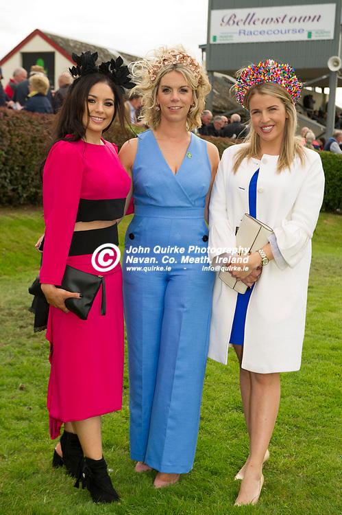 29-08-18. Bellewstown Races - August Festival<br /> Best Dressed Lady Competition.<br /> L to R: Dawn Finnegan, Style Ambassador. Sinead collier, Bellewstown PR and Kate Harrington, Judge.<br /> Photo: John Quirke / www.quirke.ie<br /> ©John Quirke Photography, Unit 17, Blackcastle Shopping Cte. Navan. Co. Meath. 046-9079044 / 087-2579454.