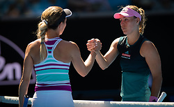 January 20, 2019 - Melbourne, AUSTRALIA - Danielle Collins of the United States & Angelique Kerber of Germany at the net after their fourth-round match at the 2019 Australian Open Grand Slam tennis tournament (Credit Image: © AFP7 via ZUMA Wire)