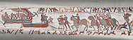 Bayeux Tapestry scene  6 - 7:  Harold is areested by Guy de Ponthieu for landing without permission. .<br /> <br /> If you prefer you can also buy from our ALAMY PHOTO LIBRARY  Collection visit : https://www.alamy.com/portfolio/paul-williams-funkystock/bayeux-tapestry-medieval-art.html  if you know the scene number you want enter BXY followed bt the scene no into the SEARCH WITHIN GALLERY box  i.e BYX 22 for scene 22)<br /> <br />  Visit our MEDIEVAL ART PHOTO COLLECTIONS for more   photos  to download or buy as prints https://funkystock.photoshelter.com/gallery-collection/Medieval-Middle-Ages-Art-Artefacts-Antiquities-Pictures-Images-of/C0000YpKXiAHnG2k