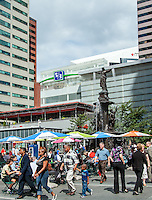 People on Fountain Square in the Daytime