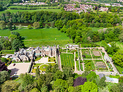 Aerial view from drone of Abbotsford House and gardens in Melrose , Scottish Borders, Scotland, UK