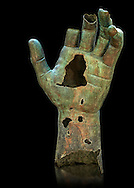 Gigantic Roman bronze statue hand from Rome. The Capitoline Museums, Rome ...<br /> <br /> If you prefer to buy from our ALAMY STOCK LIBRARY page at https://www.alamy.com/portfolio/paul-williams-funkystock/greco-roman-sculptures.html . Type -    Capitoline    - into LOWER SEARCH WITHIN GALLERY box - Refine search by adding a subject, place, background colour, etc.<br /> <br /> Visit our ROMAN WORLD PHOTO COLLECTIONS for more photos to download or buy as wall art prints https://funkystock.photoshelter.com/gallery-collection/The-Romans-Art-Artefacts-Antiquities-Historic-Sites-Pictures-Images/C0000r2uLJJo9_s0