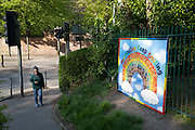 Local response to Coronavirus is felt on a street by street level as children from Fox Hollies School, a local special educational needs school, put up a rainbow hand print painting on 24th April 2020 in Birmingham, England, United Kingdom. Coronavirus or Covid-19 is a new respiratory illness that has not previously been seen in humans. While much or Europe has been placed into lockdown, the UK government has put in place more stringent rules as part of their long term strategy, and in particular social distancing.