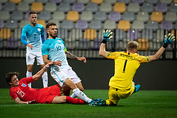 Conor Gallagher of England and Jan Mlakar of Slovenia and Aaron Ramsdale of England during friendly Football match between U21 national teams of Slovenia and England, on October 11, 2019 in Ljudski Vrt, Maribor, Slovenia. Photo by Blaž Weindorfer / Sportida