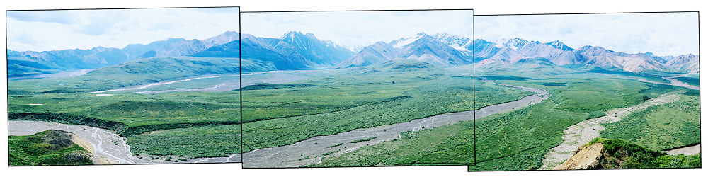 A panoramic callage of the Alaska Range in Danali National Park, Alaska, USA.