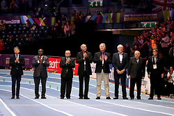 The arena holds a minutes applause for Sir Roger Bannister during day four of the 2018 IAAF Indoor World Championships at The Arena Birmingham.