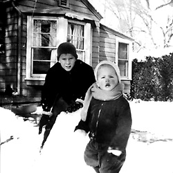 HS616  George W. and Jeb Bush play in the snow, Midland, TX, February 1955.<br /> Photo Credit:  George Bush Presidential Library