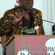 "Champion John ""The Beast"" Mugabi speaks to fans during the 23rd Annual induction weekend opening ceremony at the International Boxing Hall of Fame on Thursday, June 7, 2012 in Canastota, NY. (AP Photo/Alex Menendez)"