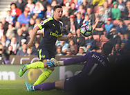 Mersut Ozil of Arsenal scores his teams 2nd goal.  Premier league match, Stoke City v Arsenal at the Bet365 Stadium in Stoke on Trent, Staffs on Saturday 13th May 2017.<br /> pic by Bradley Collyer, Andrew Orchard sports photography.