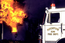 Stock photo of Houston Fire Department truck number 206 at the scene of a house fire