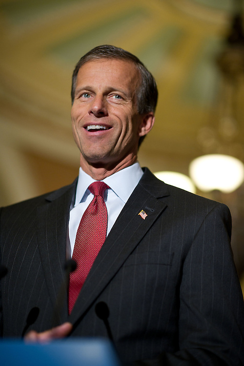 Senator John Thune (R-SD) speaks with reporters at a press conference outside the Senate floor on Tuesday, June 28, 2011 in Washington.  (Photo by Jay Westcott/Politico)