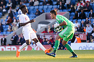 Shareef Keouf of Israel (1) beats Bukayo Saka of England (17) to the ball during the UEFA European Under 17 Championship 2018 match between England and Israel at Proact Stadium, Whittington Moor, United Kingdom on 4 May 2018. Picture by Mick Haynes.