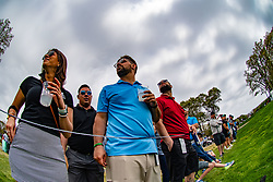 May 19, 2019 - Farmingdale, NY, U.S. - FARMINGDALE, NY - MAY 19: General view of fans watching a tee shot in flight on the 10th hole during Round 4 of the PGA Championship Tournament on May 19, 2019, at Bethpage State Park in Farmingdale, NY (Photo by John Jones/Icon Sportswire) (Credit Image: © John Jones/Icon SMI via ZUMA Press)