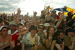 Fans of Feeder on main stage, Sunday at T in the Park, 2003..Pic ©2010 Michael Schofield. All Rights Reserved.