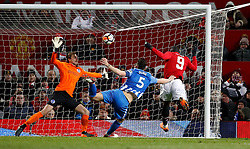 Manchester United's Romelu Lukaku scores his side's first goal of the game during the Emirates FA Cup, quarter final match at Old Trafford, Manchester.