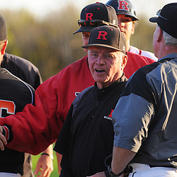 Rutgers head coach Fred Hill celebrates following Rutgers 12-11 walk-off homerun victory over  Princeton in NCAA college baseball at Bainton Field in Piscataway, N.J.