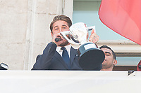 Real Madrid's Sergio Ramos on the balcony of the Seat of government greeting the fans in Madrid, May 22, 2017. Spain.<br /> (ALTERPHOTOS/BorjaB.Hojas)