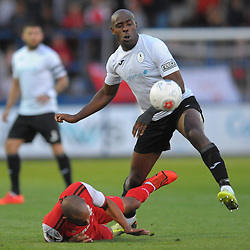 TELFORD COPYRIGHT MIKE SHERIDAN Theo Streete and Edward Williams during the National League North fixture between AFC Telford United and Kidderminster Harriers on Tuesday, August 6, 2019.<br /> <br /> Picture credit: Mike Sheridan<br /> <br /> MS201920-006