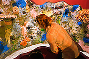 Girl viewing coral exhibit at Monterey Bay Aquarium, Monterey, California