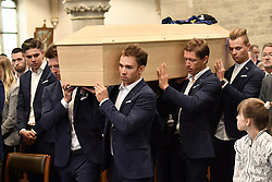 April 24, 2018 - Heist-Op-Den-Berg, FRANCE - Belgian Zico Waeytens of Verandas Willems - Crelan, Belgian Sean De Bie of Verandas Willems - Crelan, Belgian Stijn Devolder of Verandas Willems - Crelan and Belgian Senne Leysen of Verandas Willems - Crelan carry the coffin into the church, at the start of the funeral ceremony for cyclist Michael Goolaerts, Tuesday 24 April 2018 in Hallaar, Heist-Op-Den-Berg. Michael Goolaerts died after a crash in the Paris-Roubaix race on Sunday 8 April 2018, he was 23 years old...BELGA PHOTO DIRK WAEM (Credit Image: © Dirk Waem/Belga via ZUMA Press)