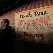 A Fenway Park sign on the wall during the Boston Red Sox V Tampa Bay Rays, Major League Baseball game on Jackie Robinson Day, Fenway Park, Boston, Massachusetts, USA, 15th April, 2013. Photo Tim Clayton