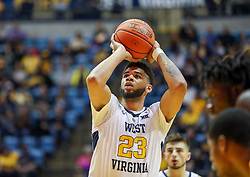 Nov 24, 2018; Morgantown, WV, USA; West Virginia Mountaineers forward Esa Ahmad (23) shoots a foul shot during the second half against the Valparaiso Crusaders at WVU Coliseum. Mandatory Credit: Ben Queen-USA TODAY Sports