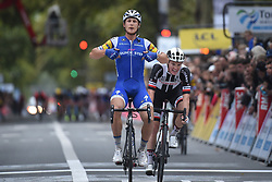 October 8, 2017 - Tours, France - TOURS, FRANCE - OCTOBER 8 : TRENTIN Matteo (ITA) Rider of Quick-Step Floors Cycling team, KRAGH ANDERSEN Asbjorn (DEN) Rider of Delco Marseille Provence KTM during the 111th edition of the Paris-Tours cycling race with start in Brou and finish in Tours on October 08, 2017 in Tours, France, 8/10/2017 (Credit Image: © Panoramic via ZUMA Press)