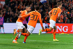 10-10-2019 NED: Netherlands - Northern Ireland, Rotterdam<br /> UEFA Qualifying round Group C match between Netherlands and Northern Ireland at De Kuip in Rotterdam / Memphis Depay #10 of the Netherlands scores 1-1, <br /> assist Donyell Malen #20 of the Netherlands