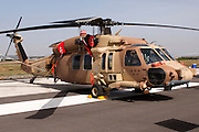 Israeli Air force helicopter, Sikorsky UH-60 Black Hawk on the ground