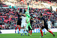 Croatia's Lovre Kalinic reaching for ball during the UEFA Nations League match between England and Croatia at Wembley Stadium, London, England on 18 November 2018.