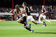 Nottingham Forest defender Eric Lichaj (2)  appealing for penalty during the EFL Sky Bet Championship match between Brentford and Nottingham Forest at Griffin Park, London, England on 16 August 2016. Photo by Matthew Redman.
